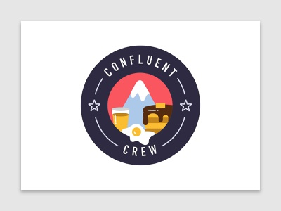 Confluent Crew | Hiking & Brunch startup technology tech graphic design team crew flat design flat vectorart logo vector confluent illustration design badge brunch hiking event breakfast hand drawn