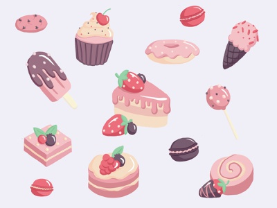 Pink desserts clean visual food drawing collage pink hand drawn sweets proceate illustration desserts