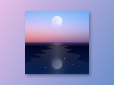 #bridge bridge reflection moon sky sea graphic design color blue night illust sketch illustration drawing