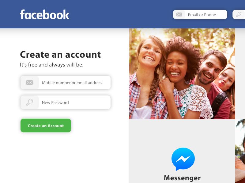 Facebook Login Redesign ux ui social free download register redesign login facebook