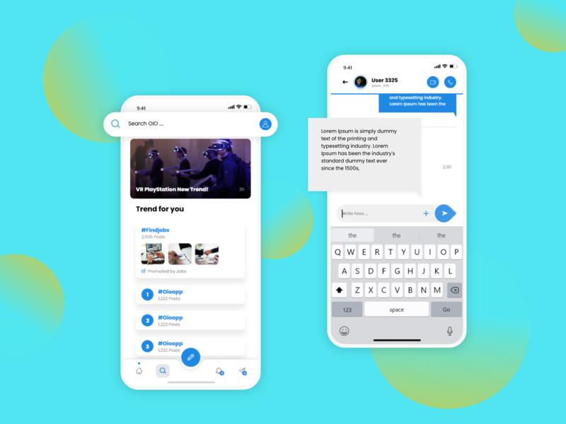 Messaging, Searching Screens - Oio App social app dribbble ios xd app ux design ui design