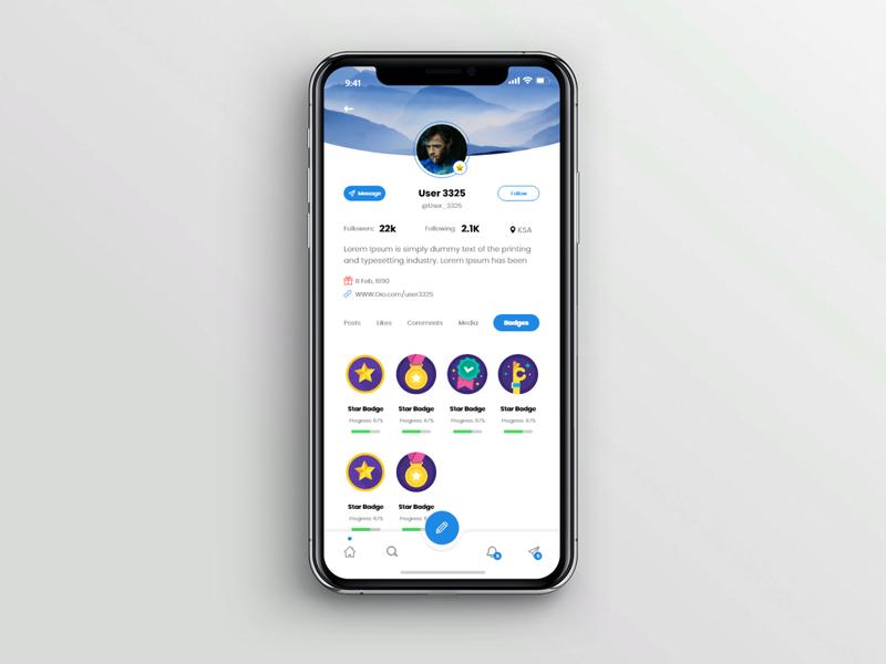 My Profile Badges - Oio Social Media App visual design profile page social media app dribbble ios xd app ux design ui design