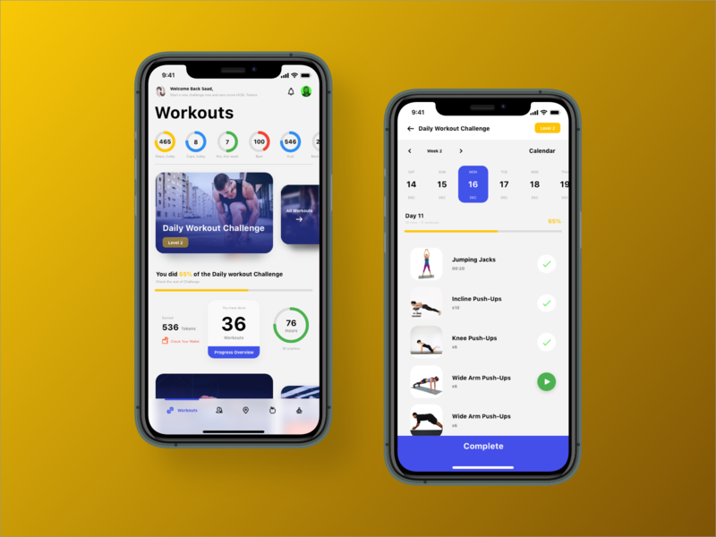 Hustle Fitness App - Home, Daily workout Challenge home page workout fitness app visual design dribbble ios sketch app ux design ui design