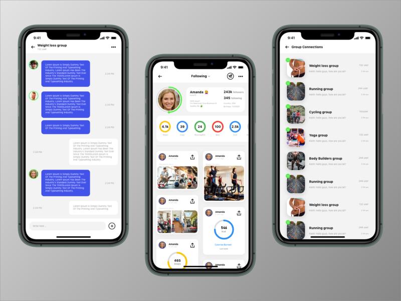 Hustle Fitness App - Flexibility of communication sketch groups chatting workout communication social app fitness app visual design dribbble ios app ux design ui design