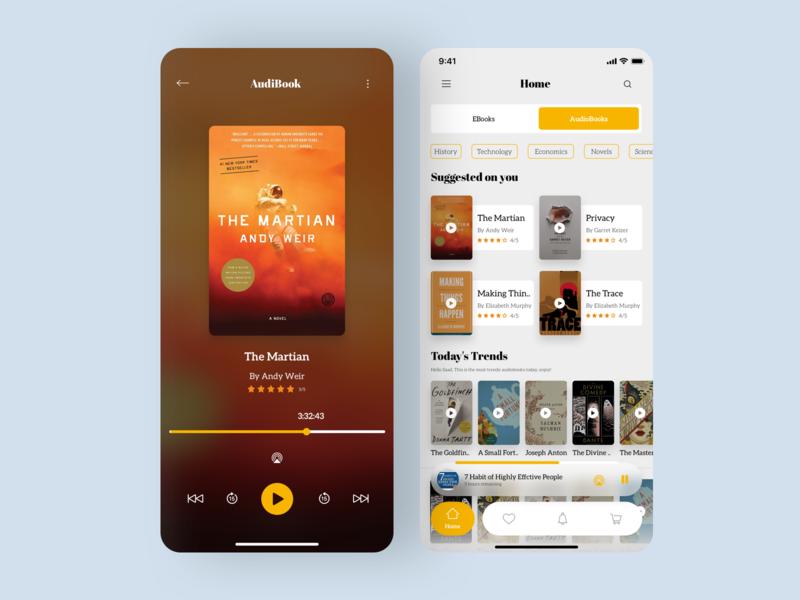 Audiobook App sketch book app visual design audiobook app dribbble ios app ux design ui design