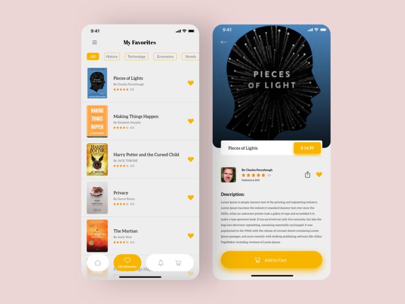 Books store App - books page + Favorites page sketch visual design dribbble xd ios app ux design ui design book app ecommerce ebook