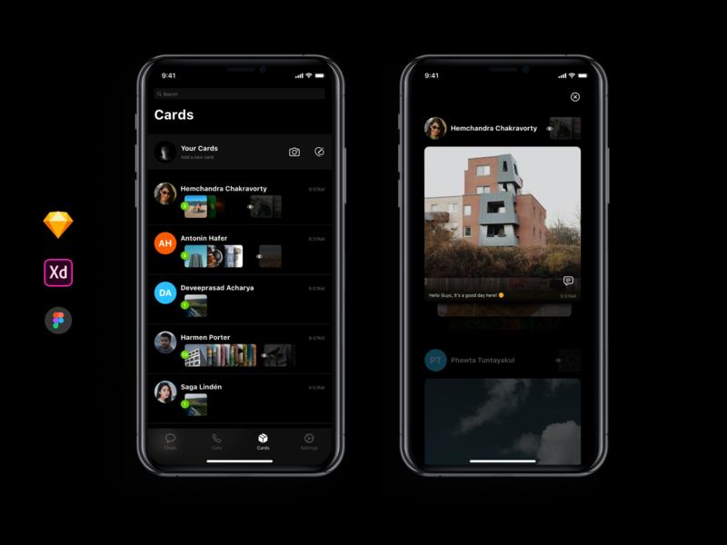 Cards feature - Chatting App social app chatting app new idea figma sketch visual design dribbble xd ios app ux design ui design