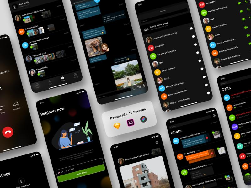 Chatting App - Full UI kit chatting app uikit figma sketch visual design dribbble xd ios app ux design ui design