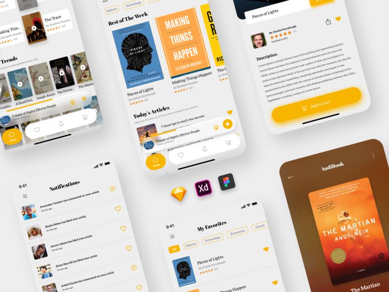 UI Kit - Books Store App uikit bookstore visual design dribbble figma sketch xd ios app ux design ui design