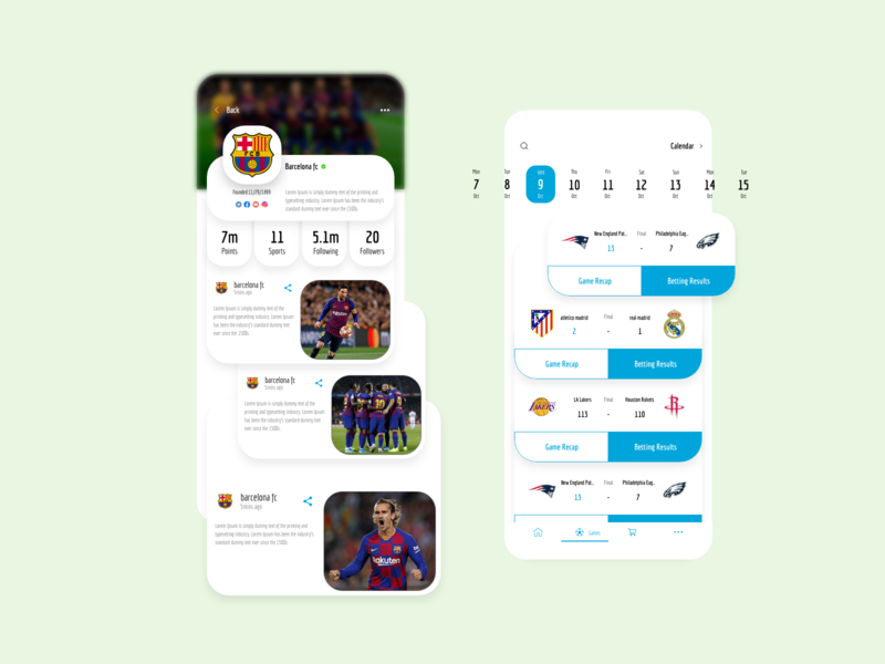 Sports News App - Games dribbble news app visual design sports app ios xd app ux design ui design