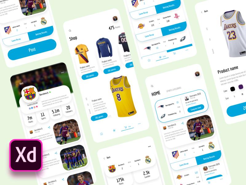 Sports News App - UI Kits source file uikits news sports visual design dribbble ios xd app ux design ui design