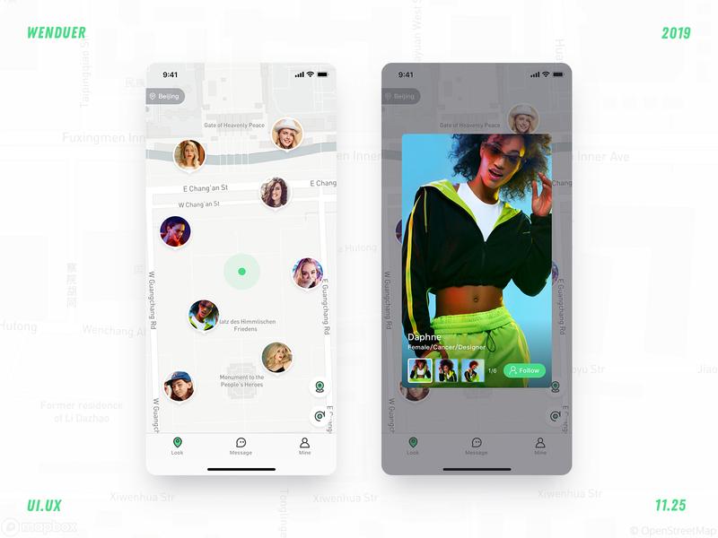 Social app map app ux flat icon design ui
