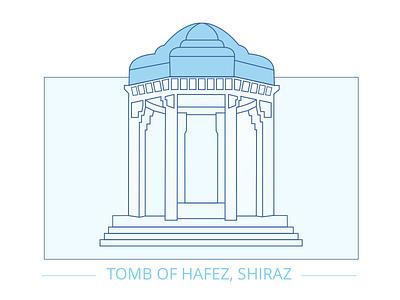 Tomb of Hafez, Shiraz, Iran sign symbol icon illustration architecture outline city iran shiraz landmark