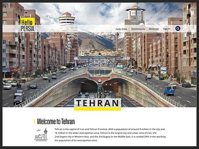 Hellopersia - Tehran landing page photoshop homepage illustration visa hellopersia landing itinerary website tourism tours tehran city iran design landing page ux interface freelance ui branding