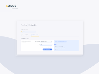 Bitsate Funding / Withdraw module transaction panel tabs exchange card dashboad trading card crypto trading crypto crypto dashboard crypto exchange crypto currency ux interface ui design branding