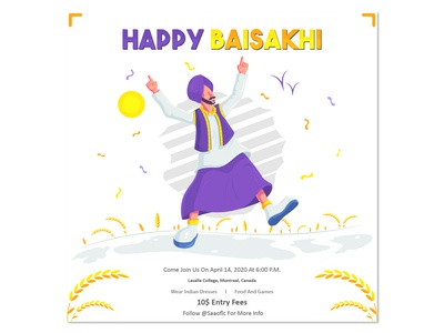 HappyBaisakhi_Poster festival illustrator graphicdesign vector indian design characterdesign event poster illustration