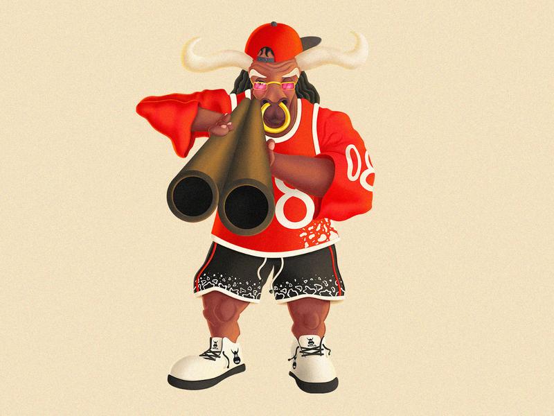 Gangsta_Bull designer graphics digitalart bull gangster cartooncharacter cartoon characterdesign conceptart illustration