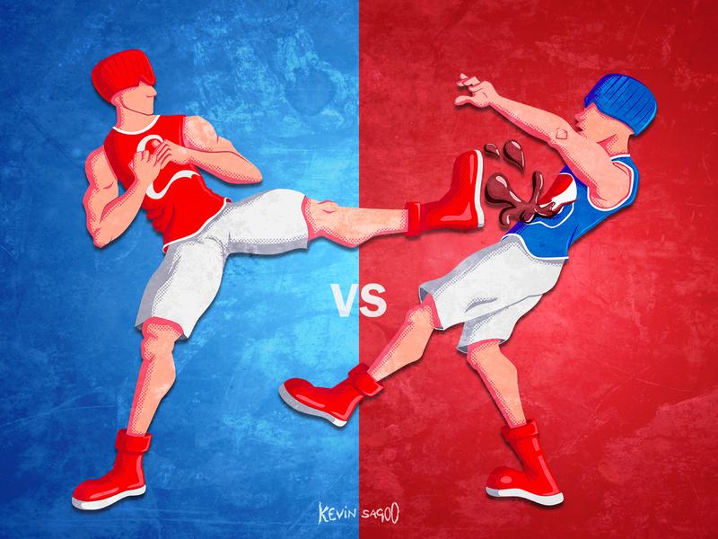 Cocacola vs pepsi (Who will win?) fight graphicdesign competition branding coke pepsi vector characterdesign cartoon illustration