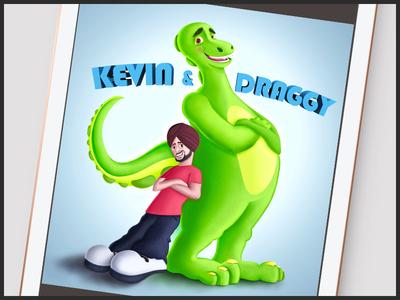 Kevin and Draggy sardar dragon illustrator conceptart mascot design cartooncharacter illustration characterdesign cartoon