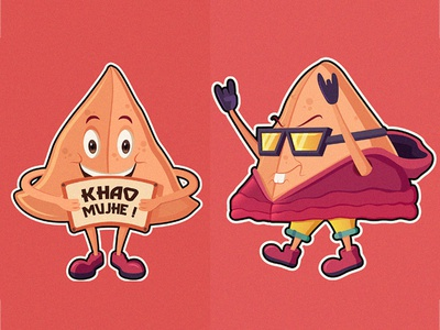 Samosa stickers #1 design vector character illustration cartoon sticker dish indian food samosa