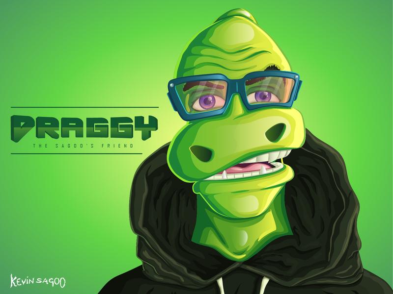 Draggy (The Sagoo's friend) green app animal character concept poster dragon vector conceptart illustration cartooncharacter characterdesign