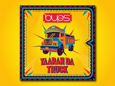 Yaaran_Da_Truck graphicdesgn punjabi vehichle truck indian illustration cover song poster vector
