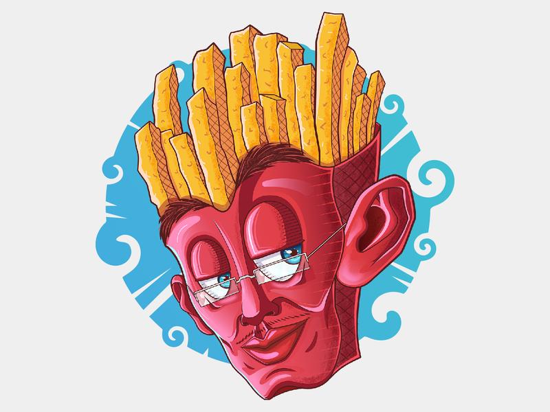 Uncle_Fries foodlogo french fries food logo mascot conceptart vector characterdesign illustration cartoon
