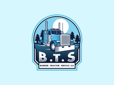BTS truck logo trucklogo transport mascot design branding tractor truck vector logo design logo