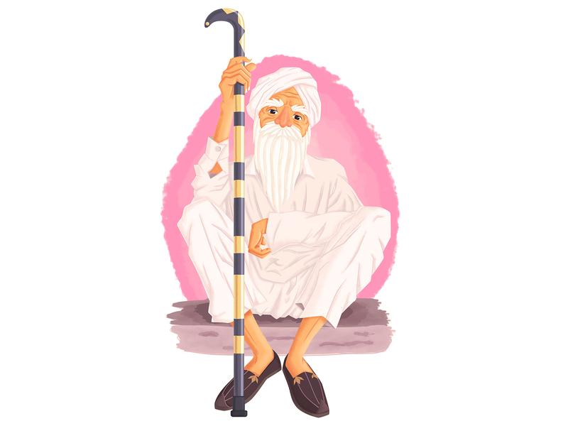 Old Punjabi Man oldman digitalart culture indian punjabi characterdesign illustrator vector cartoon illustration