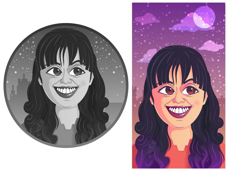 SemiCartoon face face doodle doodleart girl caricature characterdesign illustrator vector illustration cartoon
