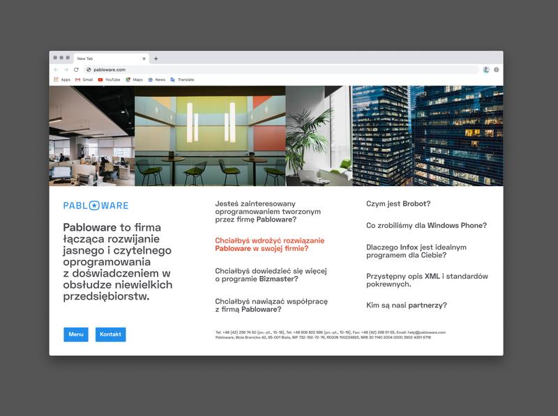 Pabloware website home page web web design typography branding design