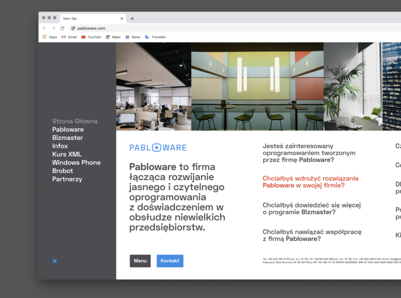 Pabloware website - opened menu state ux website ui web web design typography branding design
