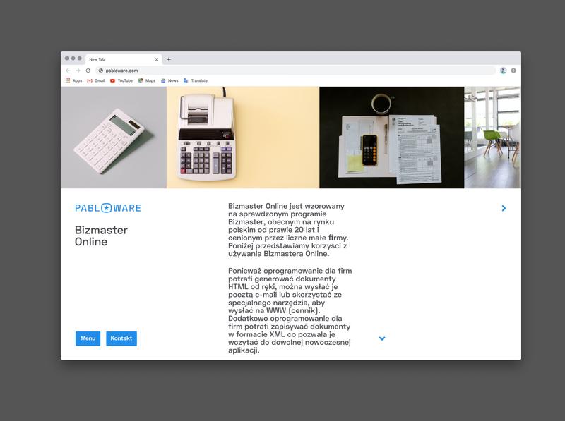 Pabloware Website - Bizmaster Online SubPage website web design ui typography branding design