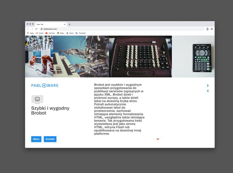 Pabloware website, Brobot subpage ui ux website web design typography branding design
