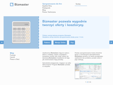 Bizmaster Invoicing Software website hompage.