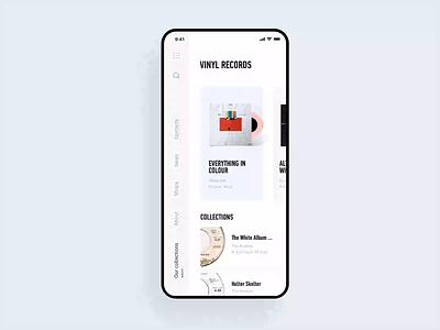 eCommerce App Concept – Vinyl Store user interface ui ux mobile design mobile ui mobile app design mobile app mobile product catalogue product card shopping ecommerce design ecommerce shop ecommerce app ecommerce