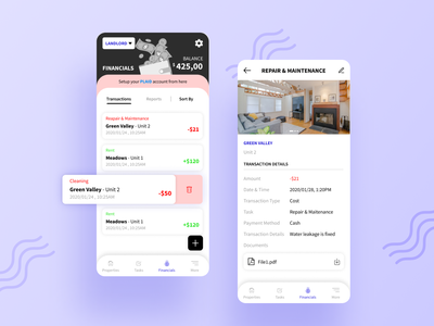 Property Management App - Transaction Screen transaction details mobile app transaction history transaction transactions rental app renting properties property management property app design app uiux design uiux uidesign ui