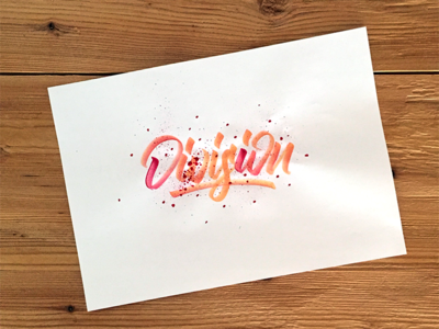 Division Lettering logotype splash orange watercolor handlettering lettering