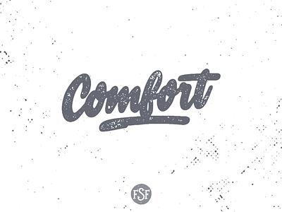 Comfort handlettering logotype splash grey watercolor handlettering lettering