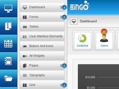 Bingo Admin Dashboard admin dashboard sidebar widget ui user interface web application admin panel