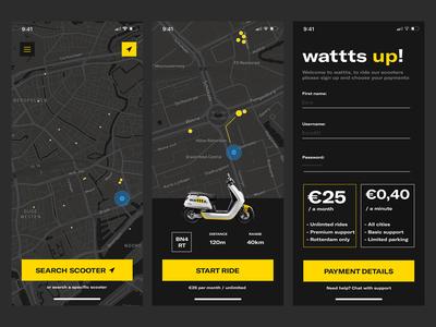 wattts. E-Scooter sharing app design.
