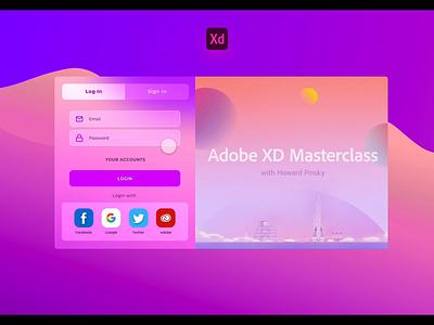 Login Screen - Adobe XD Playoff xd animation xd design login sign in xd playoff adobe gradient uiux dashboard animation design adobexd ux ui