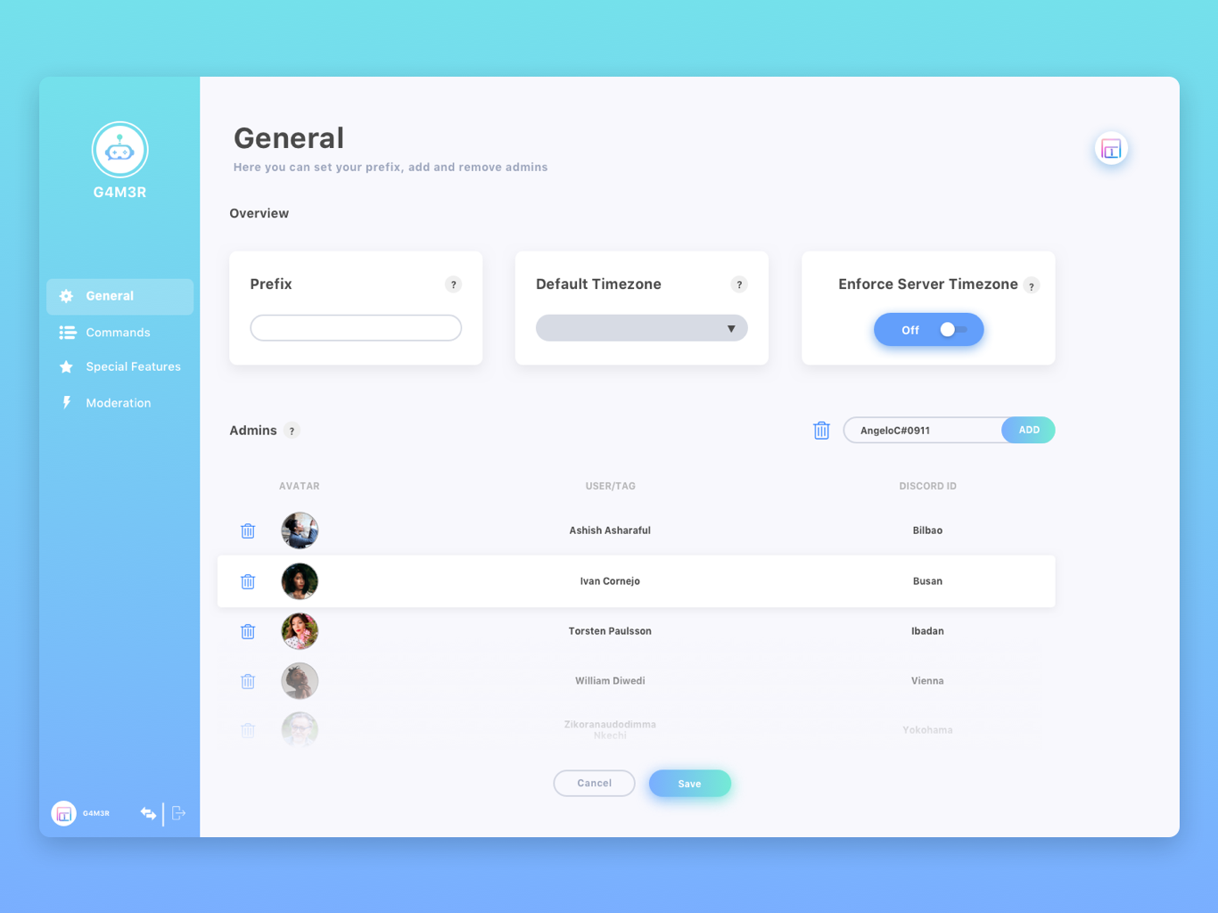 G4M3R Discord Bot Dashboard by AC1design on Dribbble