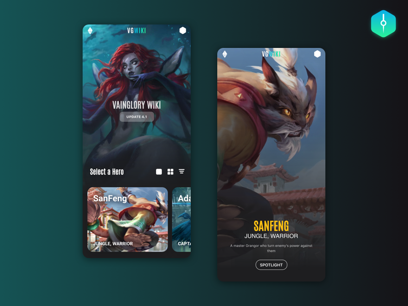 VGWIKI - A Vainglory Wiki design web illustration gaming website adobexd vainglory gatsby reactjs gradient ux ui game gaming wiki