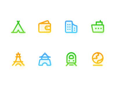Gradual linear travel icon practice