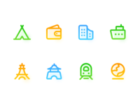 Gradual linear travel icon practice