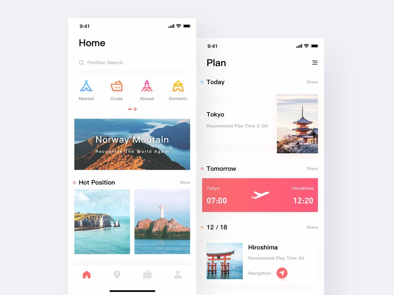 Daily practice about travel interface. travel interface travel travel app ui daily practice