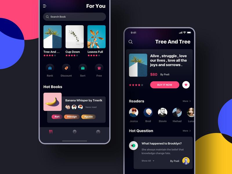 Recent interface practice on reading dark ui ios 11 book interface ui  ux design ui large title black interface reading interface daily practice gradual icon