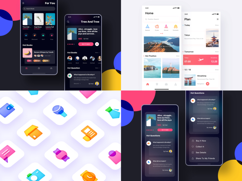 2018 Dribbble Top4 travel ui travel book colorful book interface gradual icon daily practice icon