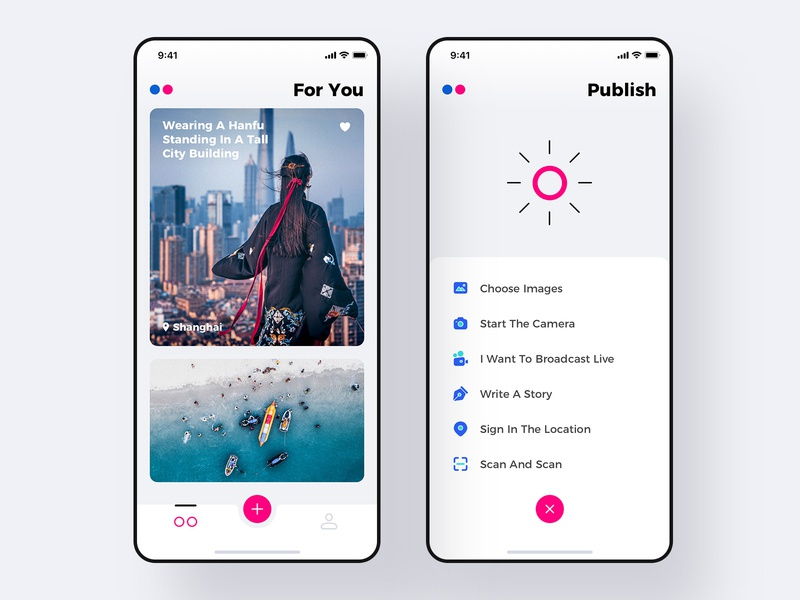 Redesigning Flickr concept drafts large title interface ios 11 material design publish icon photography app flickr redesign